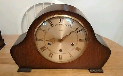 Nice smiths 8 day mantel chime clock. Parts or Repair (nice case)