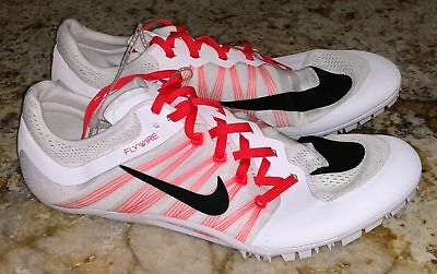 free shipping c4a7c a1a67 NIKE JA Fly 2 White Crimson Black Track Sprint Spikes Shoes NEW Mens Sz 11.5