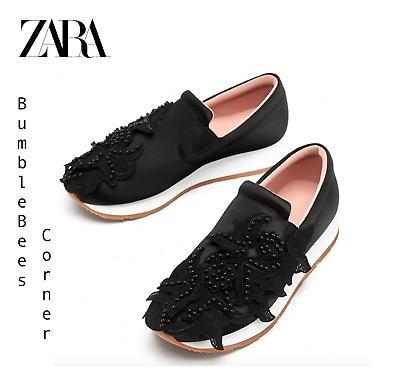 6733ea9f105 ZARA Satin Sneakers BEADS & FABRIC FLORAL DETAIL Trainers Shoes NWT 2402/301