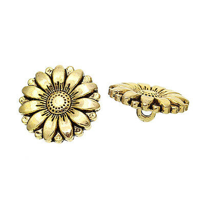 10 Metal Gold Tone Sunflower Buttons 18mm Ideal for sewing Crafts art scrapbook