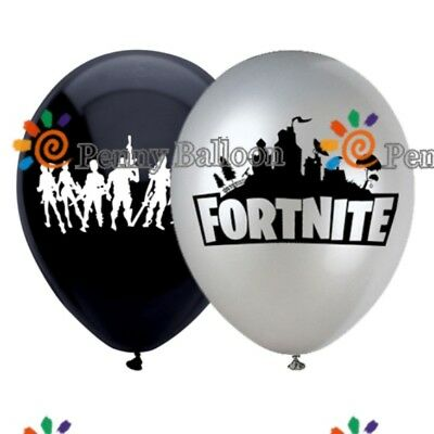 "8PCS Fortnite Game Latex & 18"" Foil Birthday Party Balloons / DRAWSTRING PE BAG."