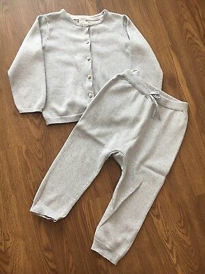 H&M Baby Girl Silver Knit Tracksuit 18-24 Months