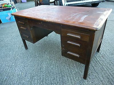 Vintage Art Deco Oak? Kneehole Desk  Made by 'D. Matthews & Son Ltd. Liverpool
