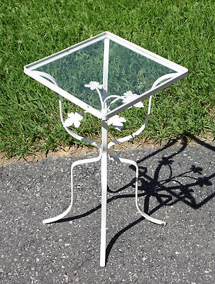 Vintage Wrought Iron Ivy Leaves Patio Table Plant Stand w/ Glass Top