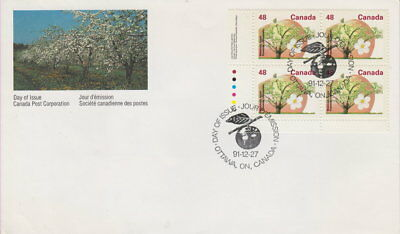 Canada #1363 48¢ Fruit Trees - Mcintosh Apple Ll Plate Block First Day Cover
