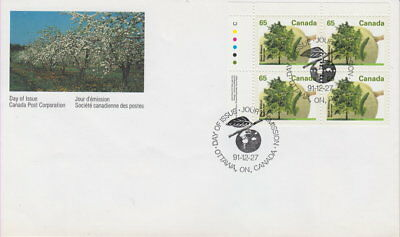 Canada #1367 65¢ Fruit Trees - Black Walnut Ul Plate Block First Day Cover