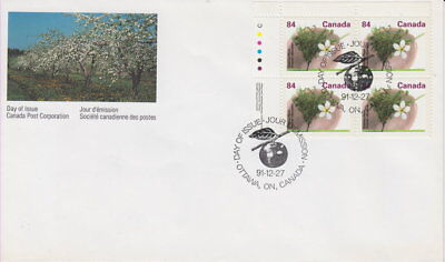 Canada #1371 84¢ Fruit Trees - Stanley Plum Ul Plate Block First Day Cover