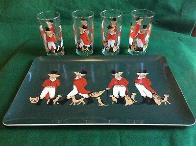 Rare Vintage Mid-Century Cera Glass Snooty Fox High Ball Set And Matching Tray