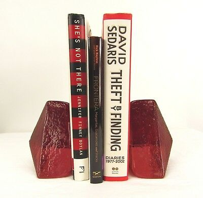 BLENKO Glass Mid Century 60s Vintage 1965 Abstract Pyramid Heavy Bookends