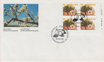 Canada #1373 88¢ Fruit Trees - Westcot Apricot Lr Plate Block First Day Cover