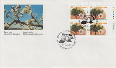Canada #1373 88¢ Fruit Trees - Westcot Apricot Ur Plate Block First Day Cover