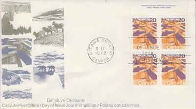 Canada #596 20¢ Landscapes Definitives - Praires Ul Plate Block First Day Cover