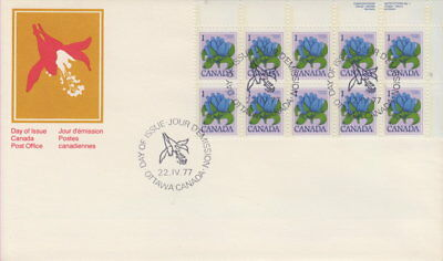 Canada #705 1¢ Bottle Gentian Ur Plate Block First Day Cover