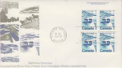 Canada #597 25¢ Landscape Definitives Polar Bears Ur Plate Block First Day Cover