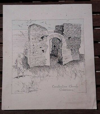 Frank Patterson pen and ink drawing of Constantine Church in Cornwall