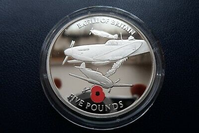 2004 Gibraltar £5 Sterling Silver Proof Commemorative Poppy Coin Spitfire 28.3g