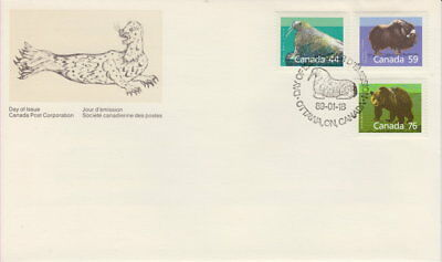Canada #1171 1174 1178 Mammal Definitives Combination First Day Cover