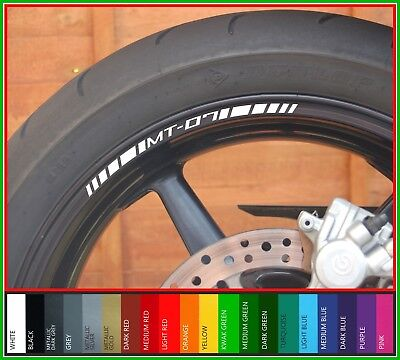 8 x YAMAHA MT07 Wheel Rim Stickers Decals - Many Colours - mt 07 mt-07 tracer