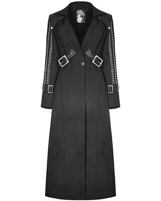 Punk Rave Womens Dieselpunk Trench Coat Jacket Long Black Gothic Faux Leather