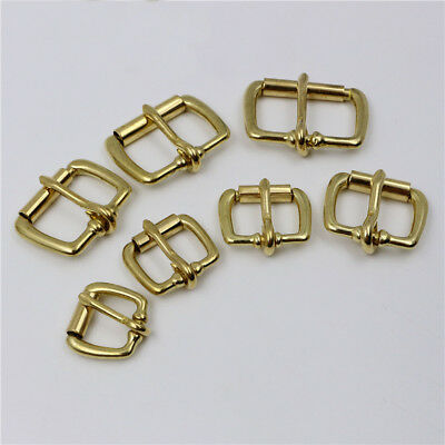 Solid Brass Roller Pin Belt Buckle Single Prong Tongue Heel Bar Leather Strap