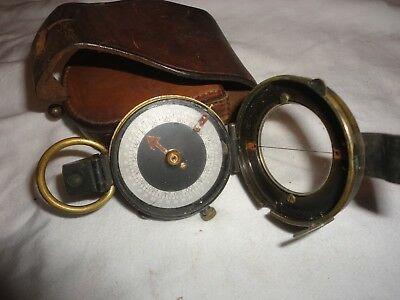 1918 vintage military compass with case