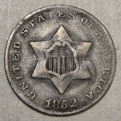 1852 Three Cent Silver, Very Fine - Discounted    0518-15