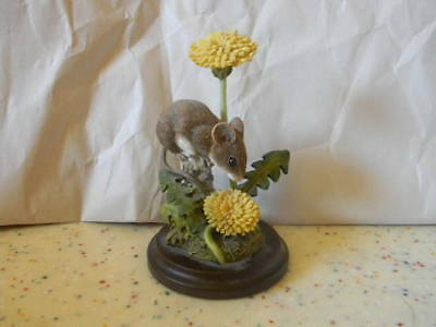 Wood Mouse With Dandelion Figurine * Hand Painted *