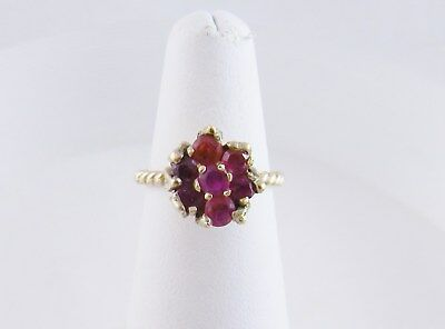 Vintage Modern 14 Karat Gold Ruby Flower Tulip  Ring