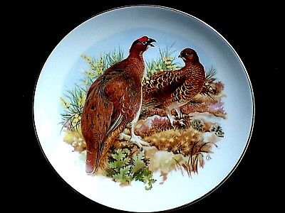 FENTON CHINA STAFFORDSHIRE Grouse  Birds 9 1/4 in Display Cabinet Plate