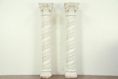 Pair Baroque Antique Stucco Spiral Columns, Antique Architectural Salvage #29165