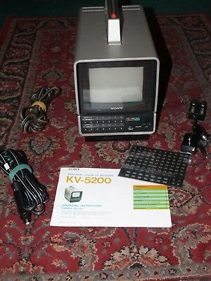 """Vintage Sony 5"""" Color Tv  Kv-5200 Ac/dc Tested -- All Audio And Video Working"""
