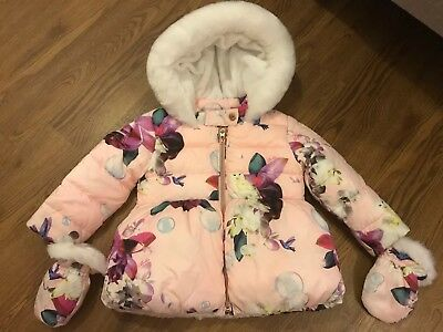Ted Baker Baby Girl Winter Puffa Coat Pink & White 18-24 Months