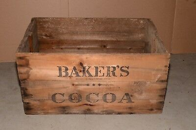 Huge Antique Walter Baker & Co Dorchester, Mass Cocoa Wooden Crate Shipping Box
