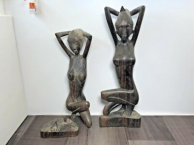 2 Vintage Chinese Asian Wood Hand-Carved Woman Naked Sculpture Figures 1 Broken