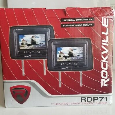 "Brand New..Rockville RDP71 7"" Headrest Entertainment System Color Grey"