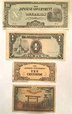 Lot Of Authentic Four World War Ii Japanese Occupation Currency Bills