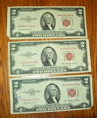 Lot of 3 U.S. $2 Red Seals, United States Notes, Banknotes