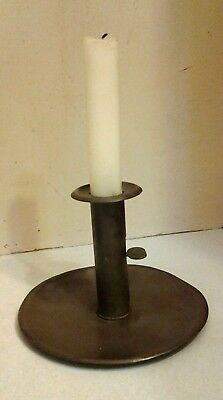 """Early Antique Push up Candle Stick Holder Sheet Tin/steel  """"Hog Scraper"""""""