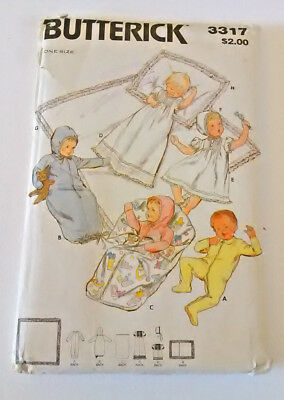 Vintage baby infant layette Christening dress fabric pattern Butterick, unused!