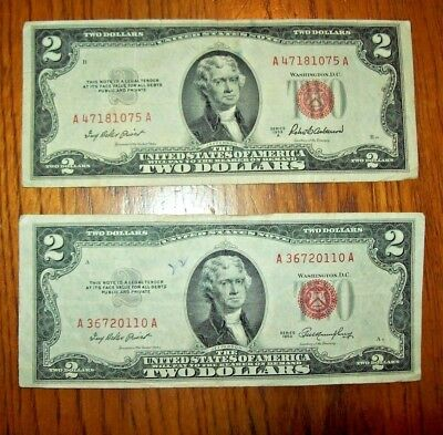 Pair of U.S. $2 Red Seals, United States Notes, Banknotes