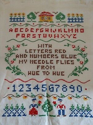 Vintage 1975 ABC letters and numbers cross stitch sampler, Bright clear colors.