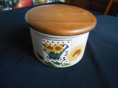Robinson Ransbottom Pottery Crock Painted w/ Wood Lid Sunflowers Signed Dix 95