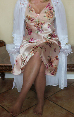 Floral Liquid Satiny Empire Waist  Nightgown Lingerie size Medium 38""