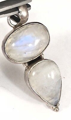 Large Vintage Handcrafted Sterling Silver 925 Double Moonstone Pendant!:)