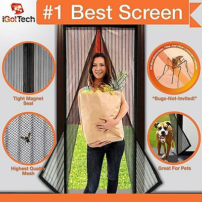 Magnetic Door Screen Mesh Mosquito Bug Insect Net 34x82 inches Velcro Frame NEW