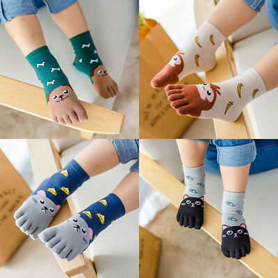 .Toddler Baby Kids Girls Boys Cartoon Animal Five Fingers Sock Hosiery Toe Socks