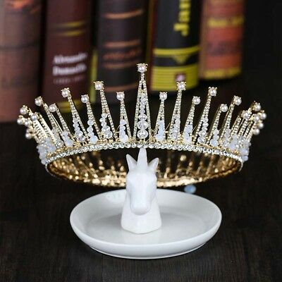 Baroque Vintage Crystal Full Round Prom King Crown Wedding Pageant Queen Tiaras