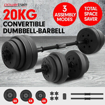 New 20kg Dumbbell Set Home Gym Fitness Exercise Equipment Free Weights Bar Plate