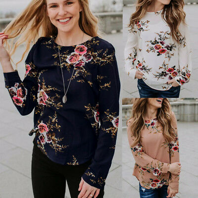 US Women Long SLeeve Floral Top Ladies Casual Crew Neck Loose Blouse T-Shirt