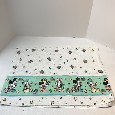 Vintage Disney Babies Cotton Flannel Receiving Blanket Mickey Minnie Mouse Stars